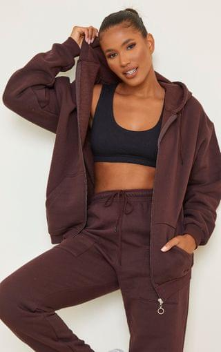 WOMEN Chocolate Brown Extreme Oversized Pocket Front Zip Through Hoodie