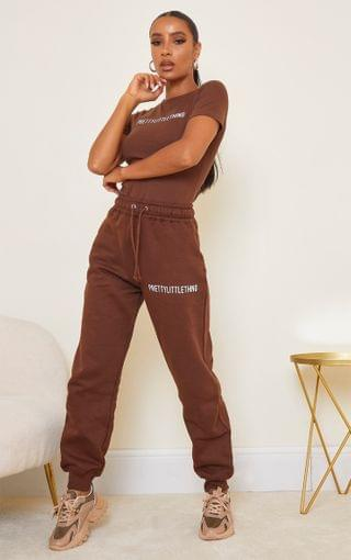 WOMEN PRETTYLITTLETHING Chocolate Brown High Waisted Joggers