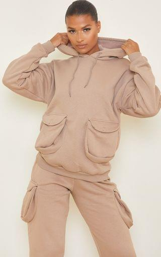 WOMEN Mocha Oversized Toggle Detail Double Pocket Front Hoodie
