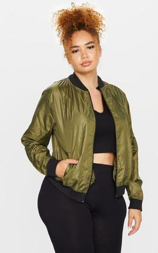 WOMEN Plus Khaki Lightweight Bomber Jacket