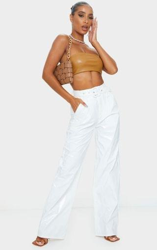 WOMEN White Vinyl Belted Wide Leg Pants