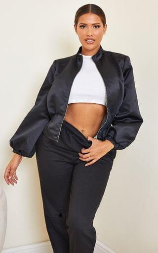 WOMEN Shape Black Corset Detail Bomber Jacket
