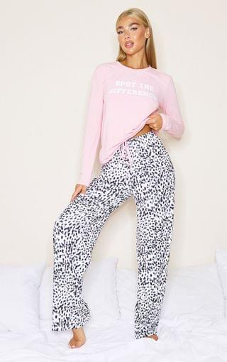 WOMEN Pink Spot The Difference Long PJ Set