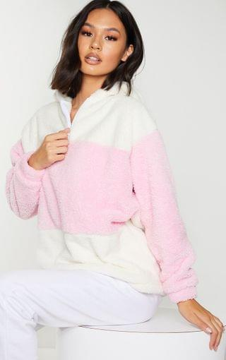 WOMEN Baby Pink Borg Colour Block Zip Hoodie
