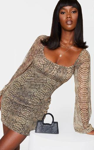 WOMEN Nude Snake Print Mesh Ruched Bust Long Sleeve Bodycon Dress