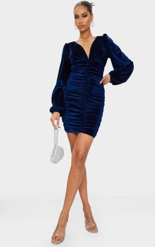 WOMEN Cobalt Velvet Ruched Balloon Sleeve Plunge Bodycon Dress