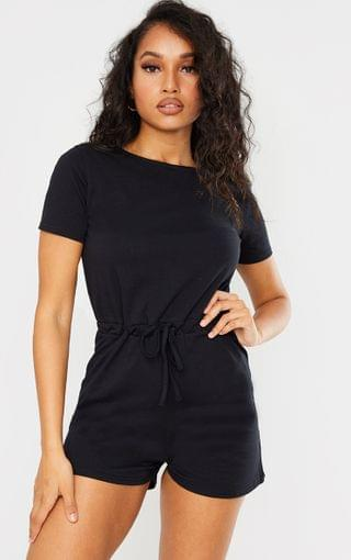 WOMEN Petite Black Cotton Playsuit