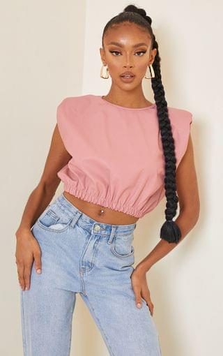 WOMEN Nude PU Shoulder Pad Ruched Hem Crop Top