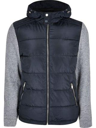 MEN Navy quilted body knit sleeve coat