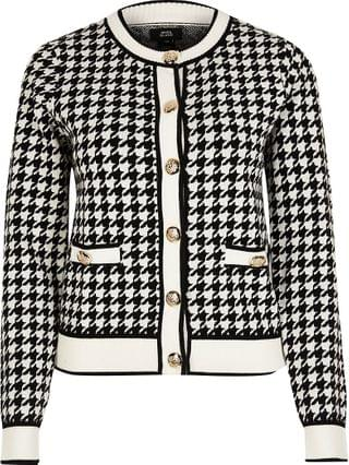 WOMEN Black dogtooth gold button detail cardigan