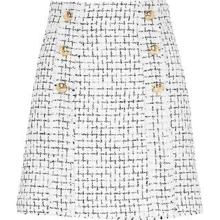WOMEN White boucle gold button mini skirt