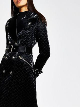 WOMEN Black long sleeve quilted pu jacket