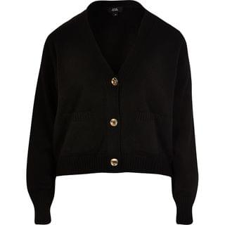 WOMEN Black gold button knitted cardigan