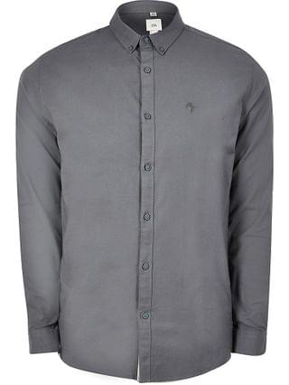 MEN Grey long sleeve muscle fit oxford shirt