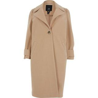 WOMEN Plus brown long line cuff detail coat