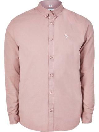 MEN Pink long sleeve muscle fit oxford shirt