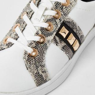 WOMEN Grey snake print jewelled trainer