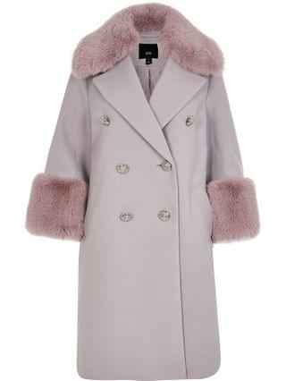 WOMEN Purple faux fur cuff swing coat