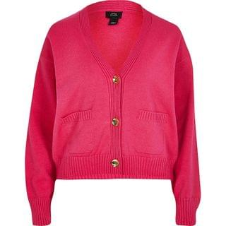 WOMEN Pink gold button knitted cardigan