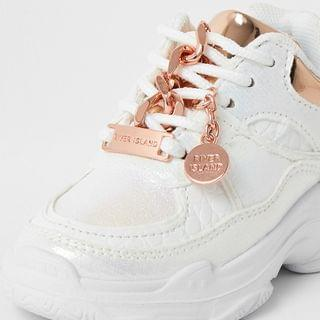 KIDS Mini girls white iridescent chunky trainer