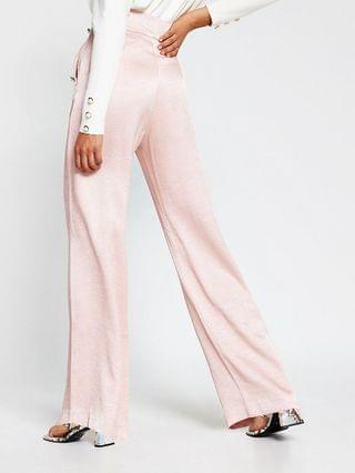WOMEN Pink pull on wide leg button detail trousers