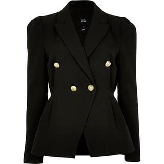WOMEN Black tuck waist gold button blazer