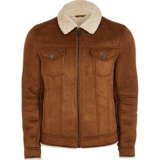 MEN Brown borg lined faux suede western jacket