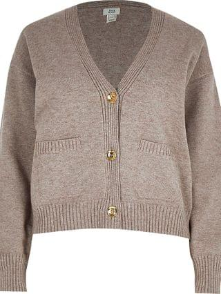 WOMEN Beige long sleeve gold button cardigan