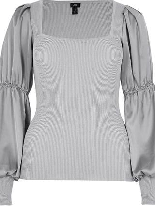 WOMEN Grey - satin sleeve ribbed top