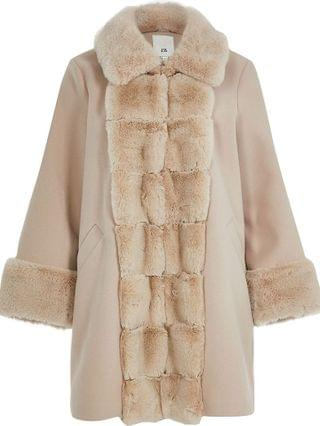 WOMEN Pink faux fur panelled swing coat