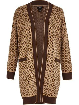 WOMEN Brown RI monogram print long sleeve cardigan