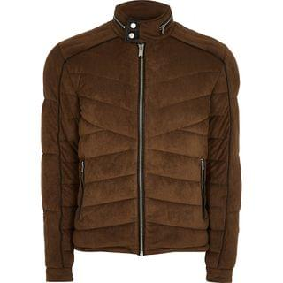 MEN Brown faux suede quilted racer jacket