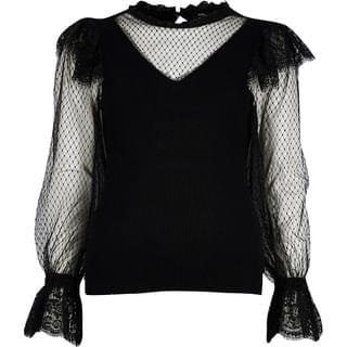 WOMEN Black mesh sleeve frill detail ribbed top