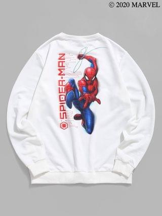 MEN Marvel Spider-Man Graphic Print Pullover Sweatshirt