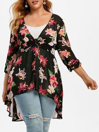 WOMEN Plus Size High Low Floral Blouse and Tank Top Set