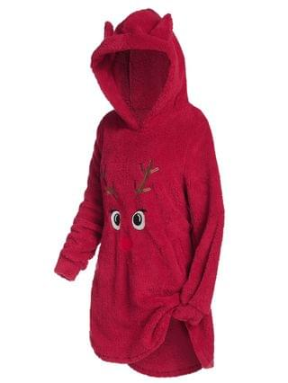 WOMEN Plus Size Christmas Funny Elk Fluffy Pullover Tunic Hoodie