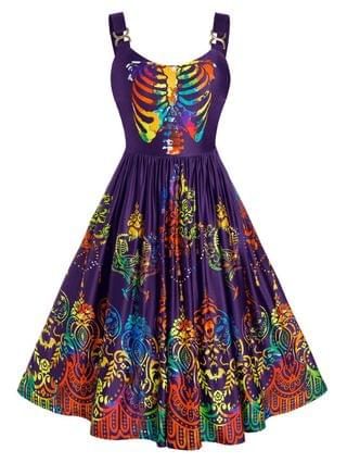 WOMEN Plus Size Colorful Skulls Skeleton Halloween Backless Retro Dress