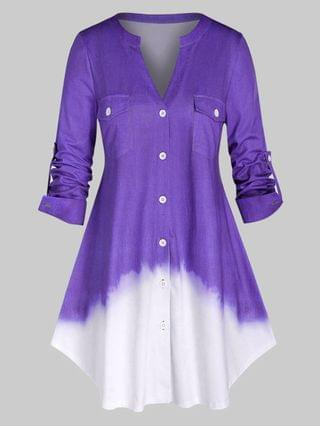 WOMEN Plus Size Ombre Color Roll Up Sleeve Shirt