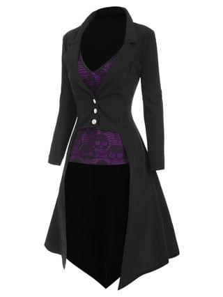 WOMEN Halloween Lapel High Low Trench Coat with Skull Lace Camisole