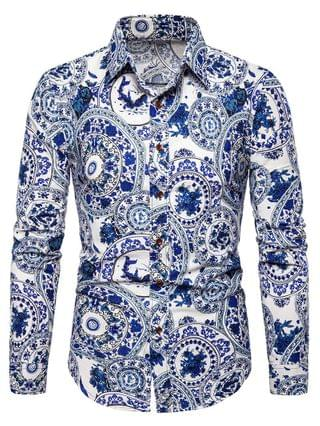 MEN Chinese Porcelain Plate Print Retro Long Sleeve Shirt