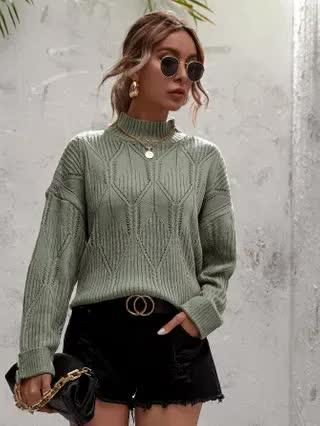 WOMEN Pointelle Knit Turtleneck Drop Shoulder Sweater