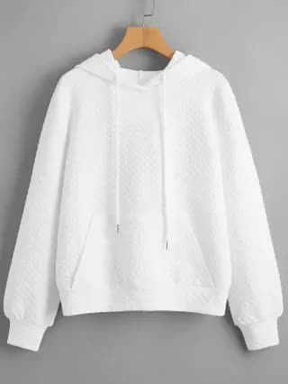 WOMEN Pocket Front Quilted Solid Hoodie