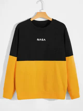 MEN Men Color Block And Letter Graphic Sweatshirt