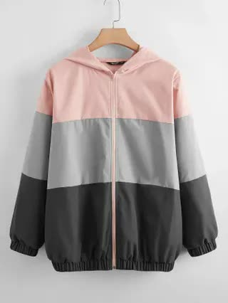 WOMEN Plus Colorblock Zip Up Hooded Sports Jacket