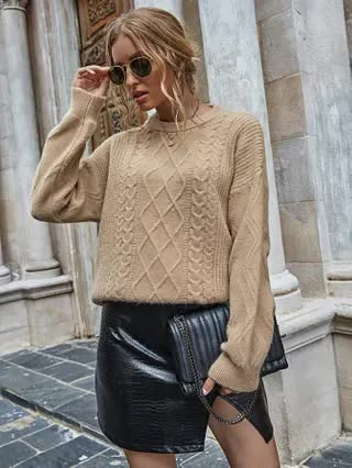 WOMEN Cable Knit Drop Shoulder Oversized Sweater