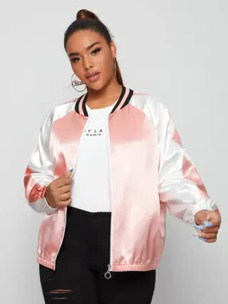 WOMEN Plus Contrast Panel Zip Up Bomber Jacket