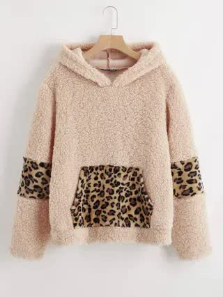 WOMEN Contrast Leopard Panel Patch Pocket Teddy Hoodie