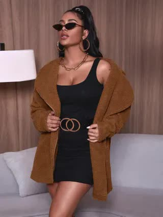 WOMEN Solid Zip Detail Lapel Neck Teddy Coat