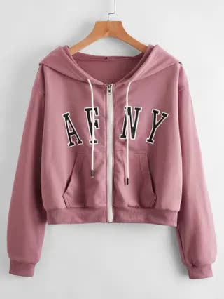 WOMEN Letter Graphic Zip Up Crop Hoodie