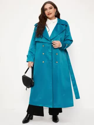WOMEN Plus Lapel Collar Double Breasted Belted Trench Coat